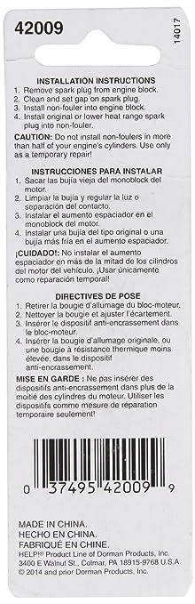 Dorman 42009 Bujía non-fouler - 18 mm junta asiento, juego de 2: Amazon.es: Coche y moto