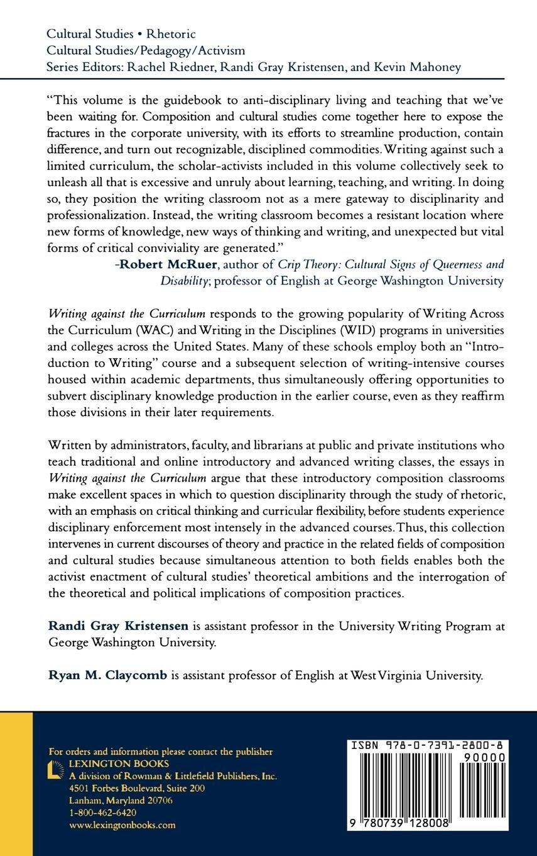 writing against the curriculum kristensen r andi gray claycomb ryan m
