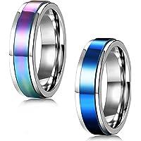 FIBO STEEL 2 Pcs 6-8MM Stainless Steel Spinner Rings for Men Women Promise Ring,Size 5-13