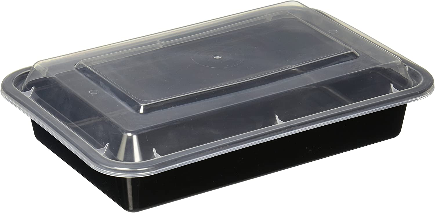 Reditainer Rectangular Food Storage Containers with Lids (20 Pack), 28 oz, Black