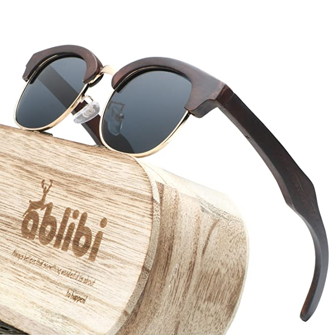 c17af5f2946 Ablibi Ebony Wood Polarized Sunglasses for Mens Semi Rimless Mens Shades