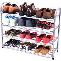 Benesta Multi-Purpose Steel Shoe Rack - (4 Tier, Silver)