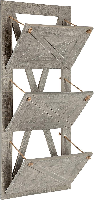 Kate and Laurel Hardeman 3 Pocket Farmhouse Wood Hanging Wall File Holder, Rustic Gray
