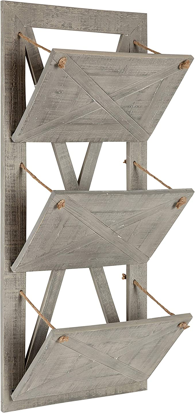 Glitzhome Wall Pocket 3 Tiers File Holder Farmhouse Wall Mount White Wall Pocket Hanger 34