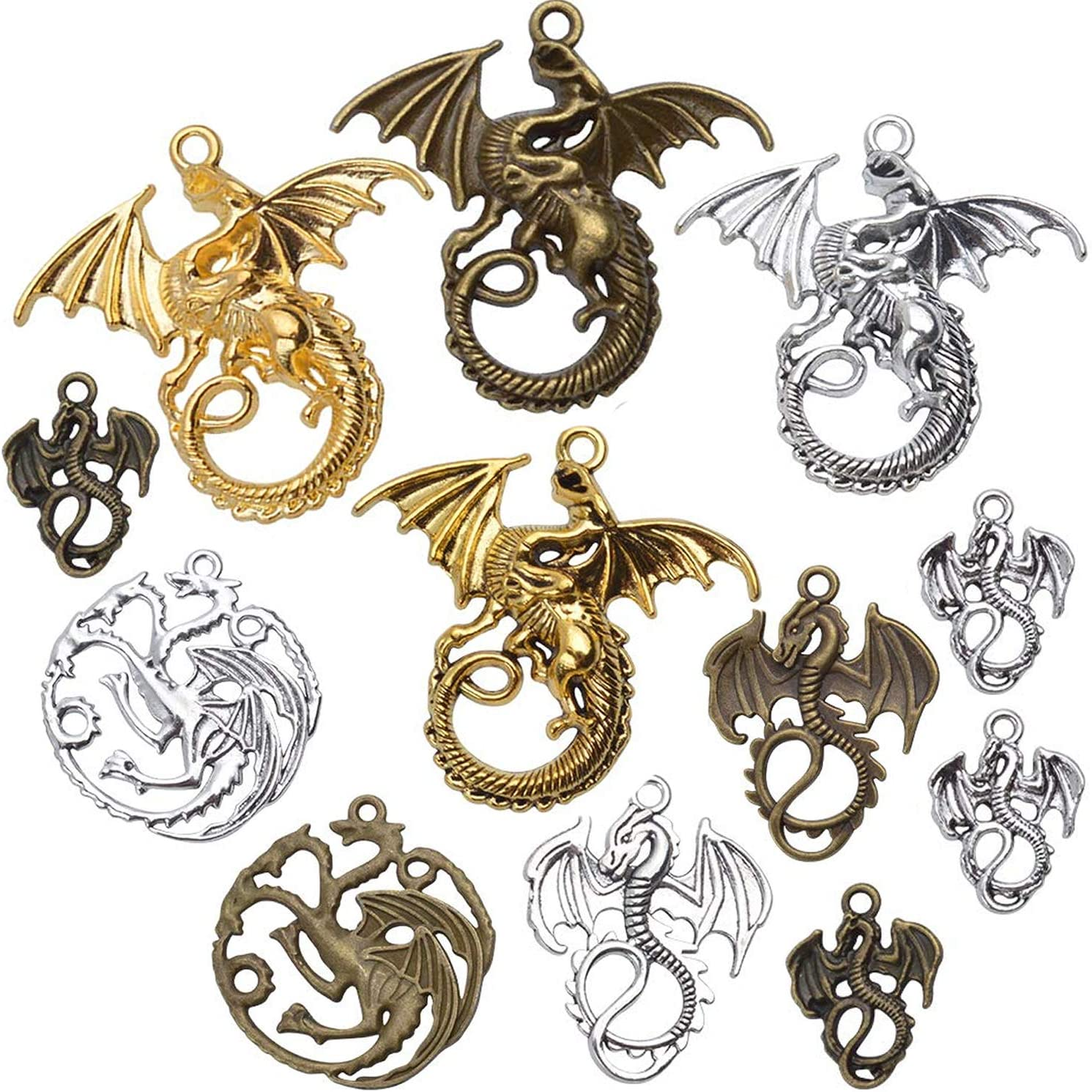 30 Baby Dragon Charm Flying Animal Charm Mythical Antique Silver Tone 16x21 922