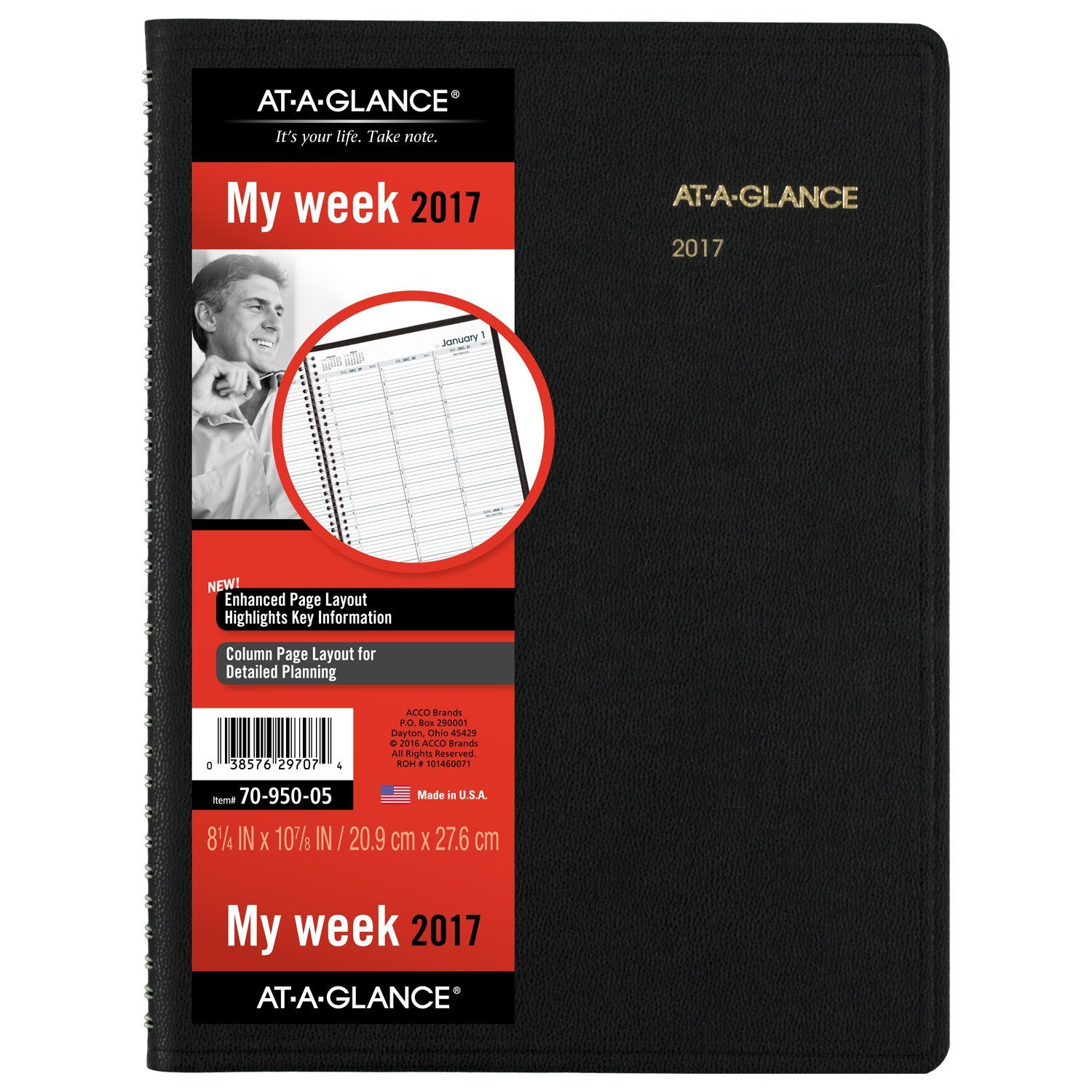 AT-A-GLANCE Weekly Appointment Book / Planner 2017, 8-1/4'' x 10-7/8'', Black (70-950-05)