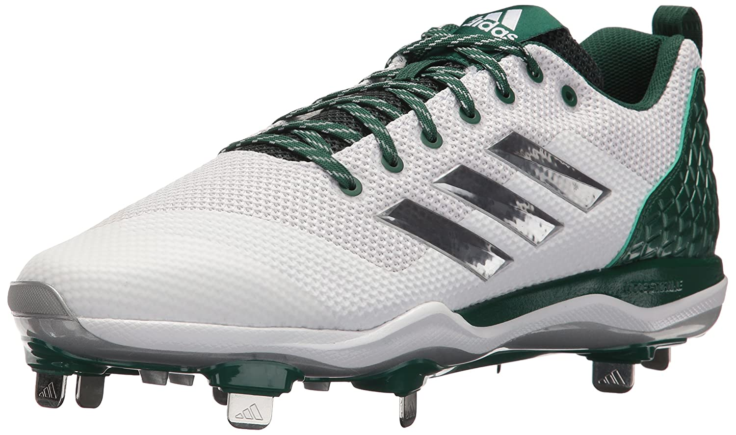 adidas Originals Men's PowerAlley 5 Mid Baseball Shoe, FTWR White, Silver Met, Dark Green B01MRZML1H Parent