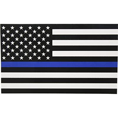Thin Blue Line Flag Decal - 3x5 in. Black White and Blue American Flag Sticker for Cars and Trucks - in Support of Police and Law Enforcement Officers (1): Automotive