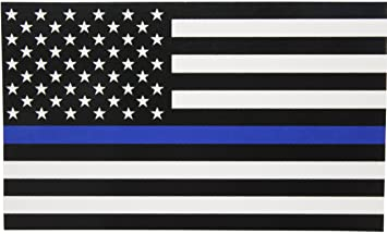 Amazoncom Thin Blue Line Flag Decal X In Black White And - Boat decalsamerican flag boat decals usa flag boat graphics xtreme digital