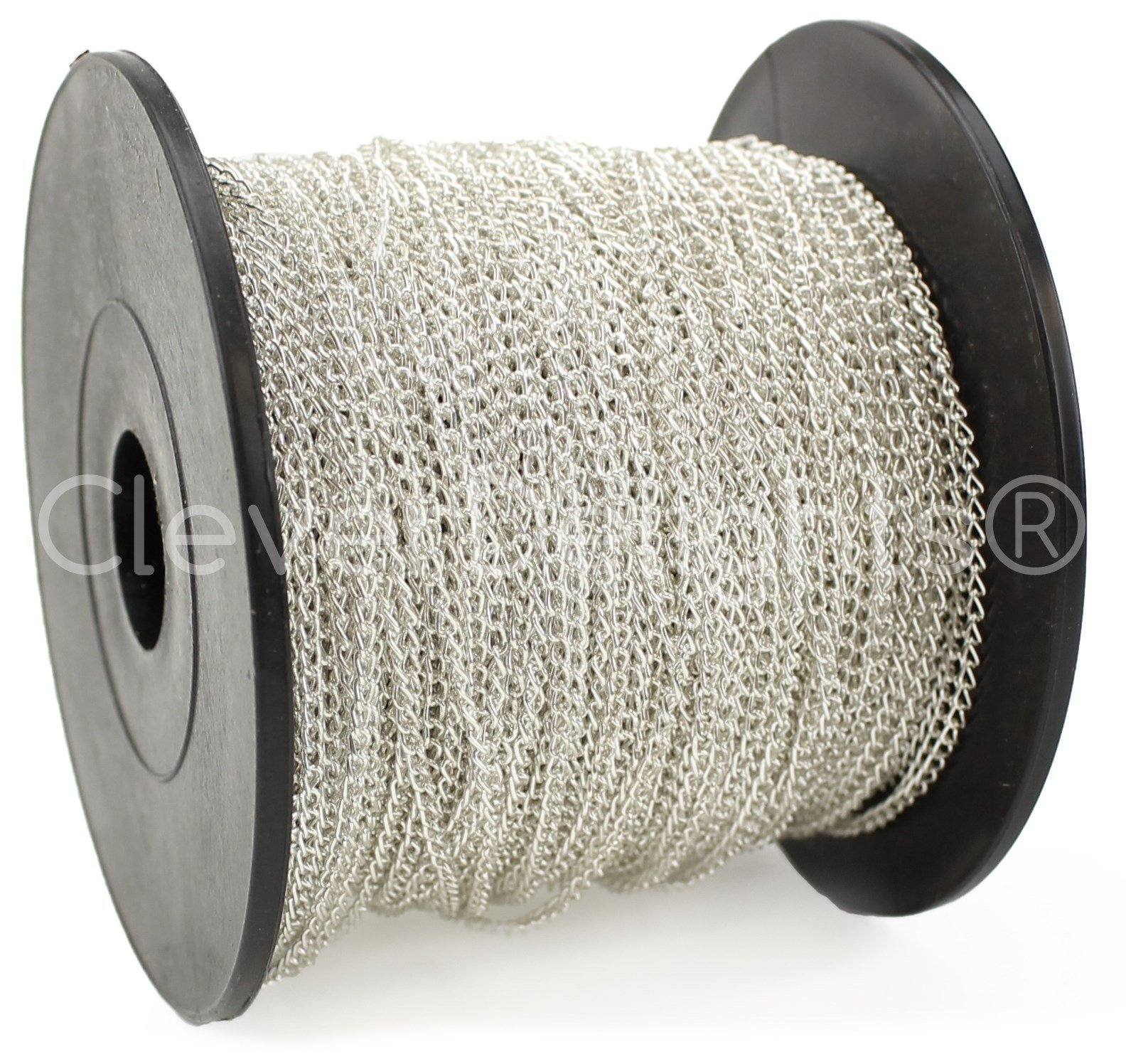 CleverDelights Curb Chain Spool - 2x3mm Link - Shiny Silver Color - 330 Feet - Bulk Chain Roll by CleverDelights