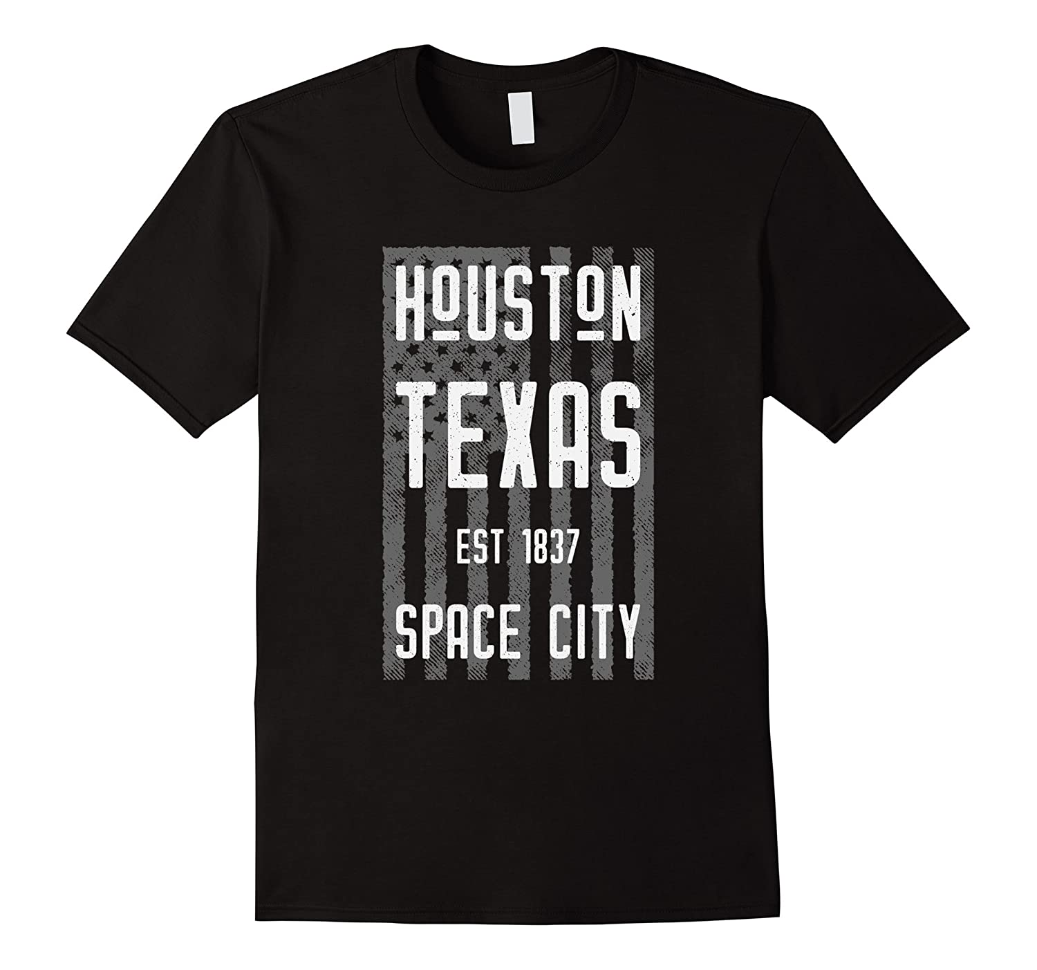Vintage Houston Shirt with a Distressed American Flag-Art