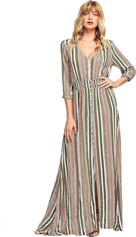 Milumia Women's Stripe V Neck Half Sleeve Split Button Up Party Maxi Dress