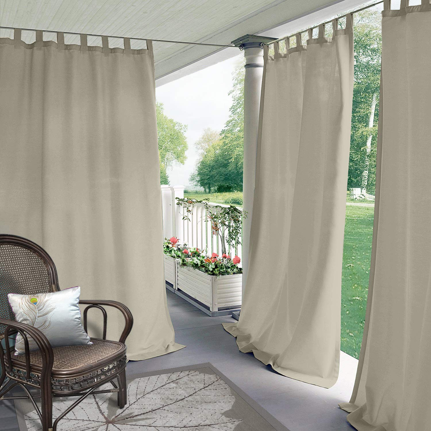 Cololeaf Indoor/Outdoor Tab Top Curtain Waterproof for Patio  Porch  Gazebo  Pergola   Cabana   Dock  Beach Home - Beige 84W x 120L Inch (1 Panel)