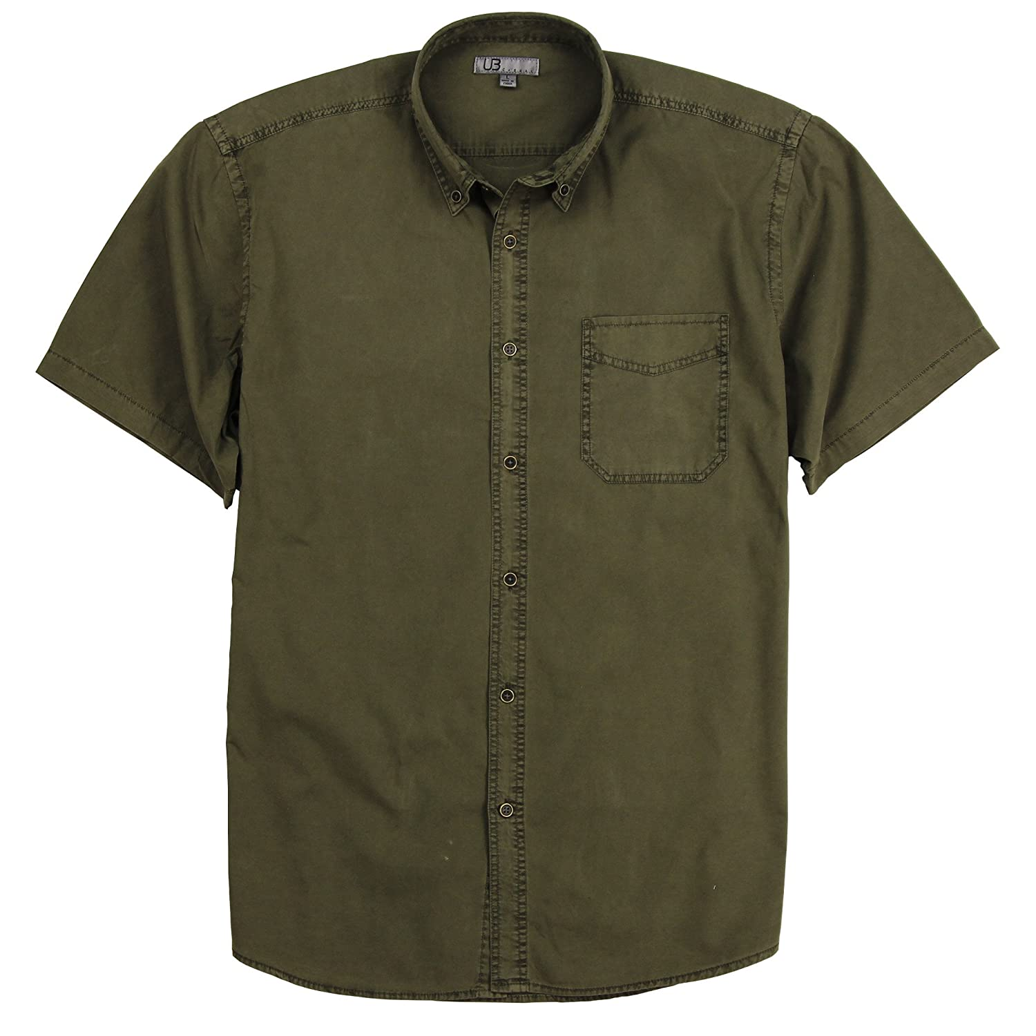 Men's Garment Dyed 100% Cotton Button Down Short Sleeve Shirt
