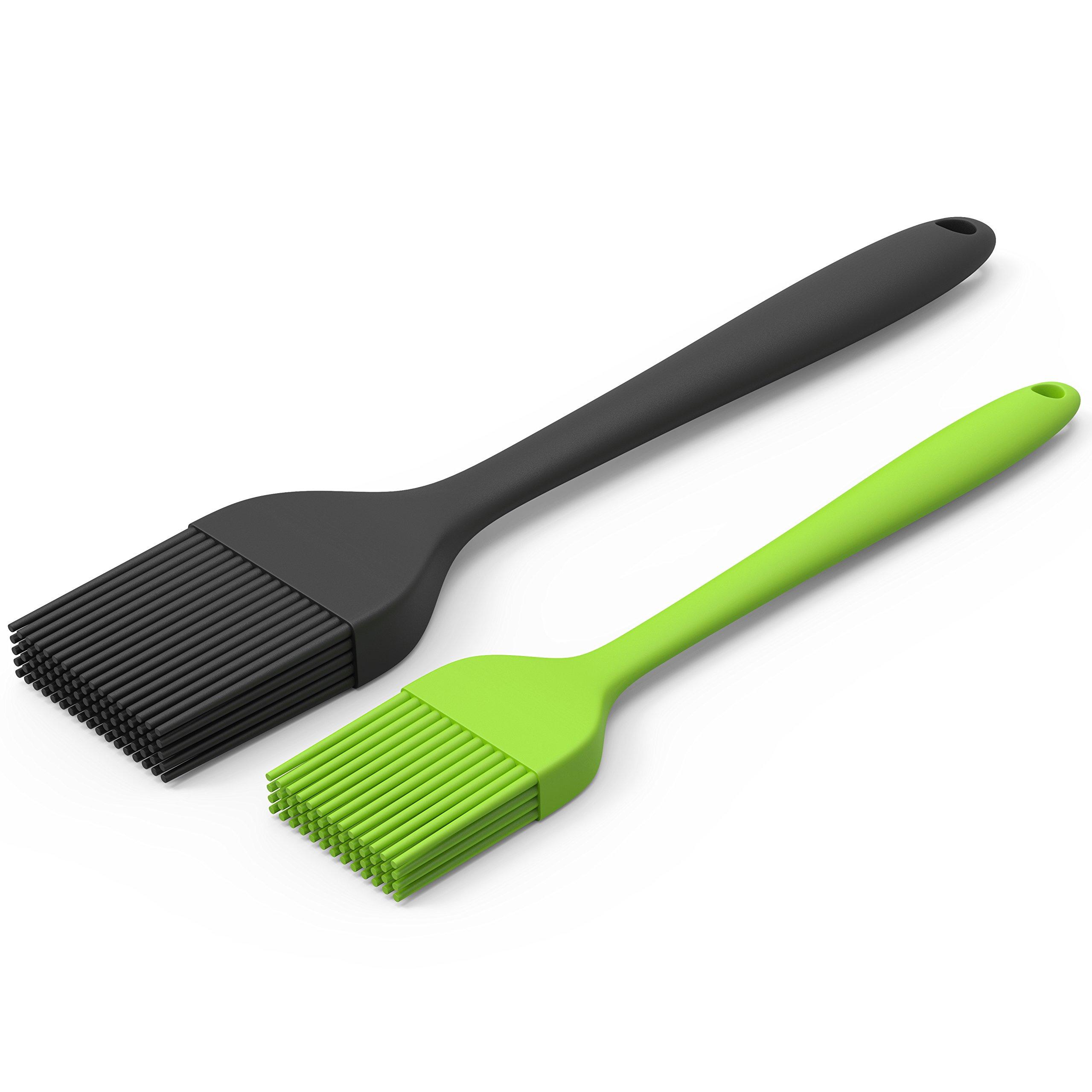 Silicone Pastry Brush Set — 2 Pack — Heat Resistant Basting Brush Set Elegantly Designed + Dishwasher Safe — Large Black + Small Green Sizes Perfect For Baking, Grilling, Basting & Marinating by Montreal Baking (Image #1)