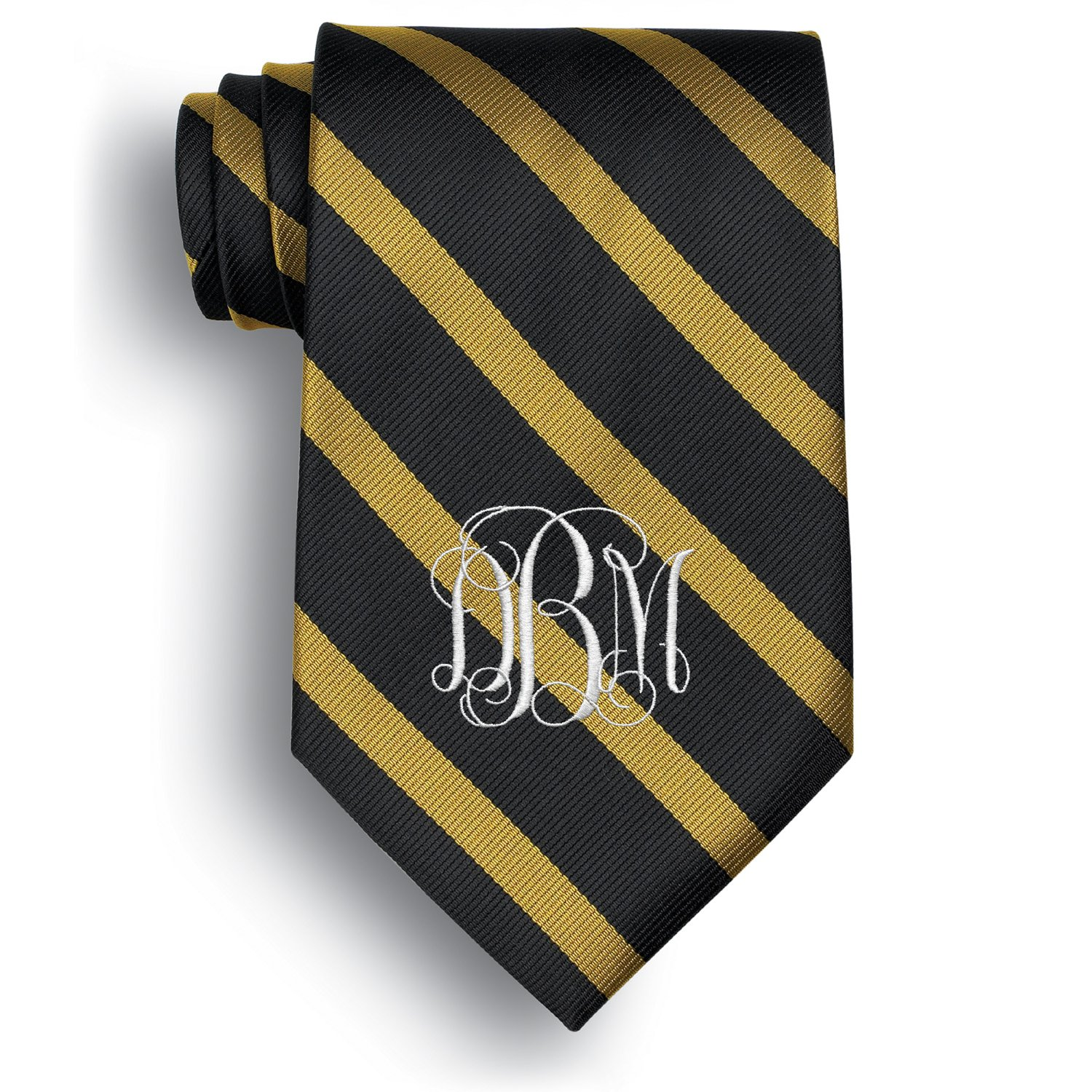 Personalized Worchester Signature Stripe Tie with Embroidered Monogram