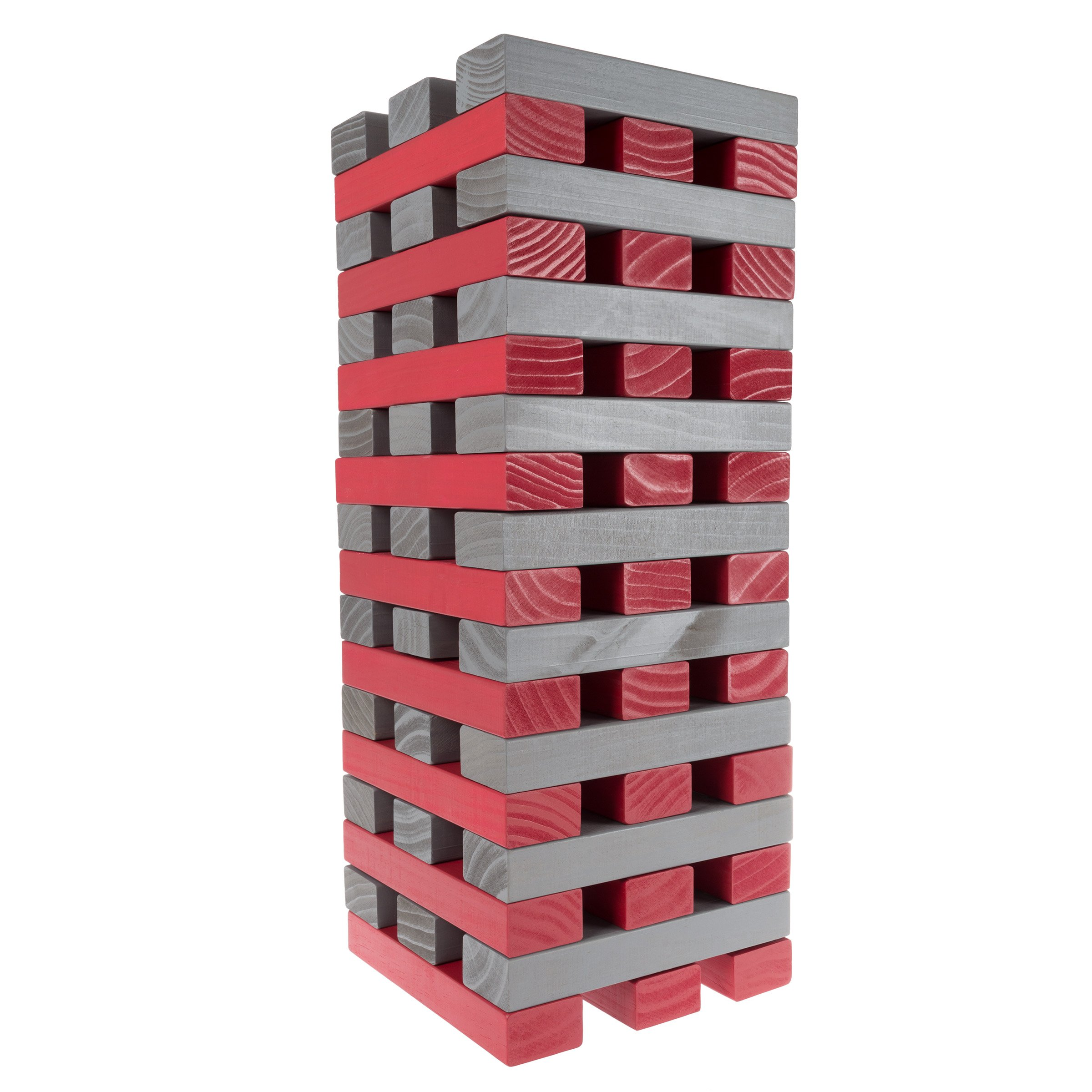 Hey!Play! (HEYP0) 80-TT0075OS Nontraditional Giant Wooden Blocks Tower Stacking Game (Gray), Red