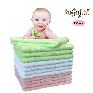 Baby Washcloths Bamboo Bath Towels Organic Reusable Baby Wipes - Hypoallergenic Ultra Soft and Absorbent Face Towel For Sensitive Skin Baby Registry As Shower Gift 12 Pack Baby Wash Cloth 10x10 Inches