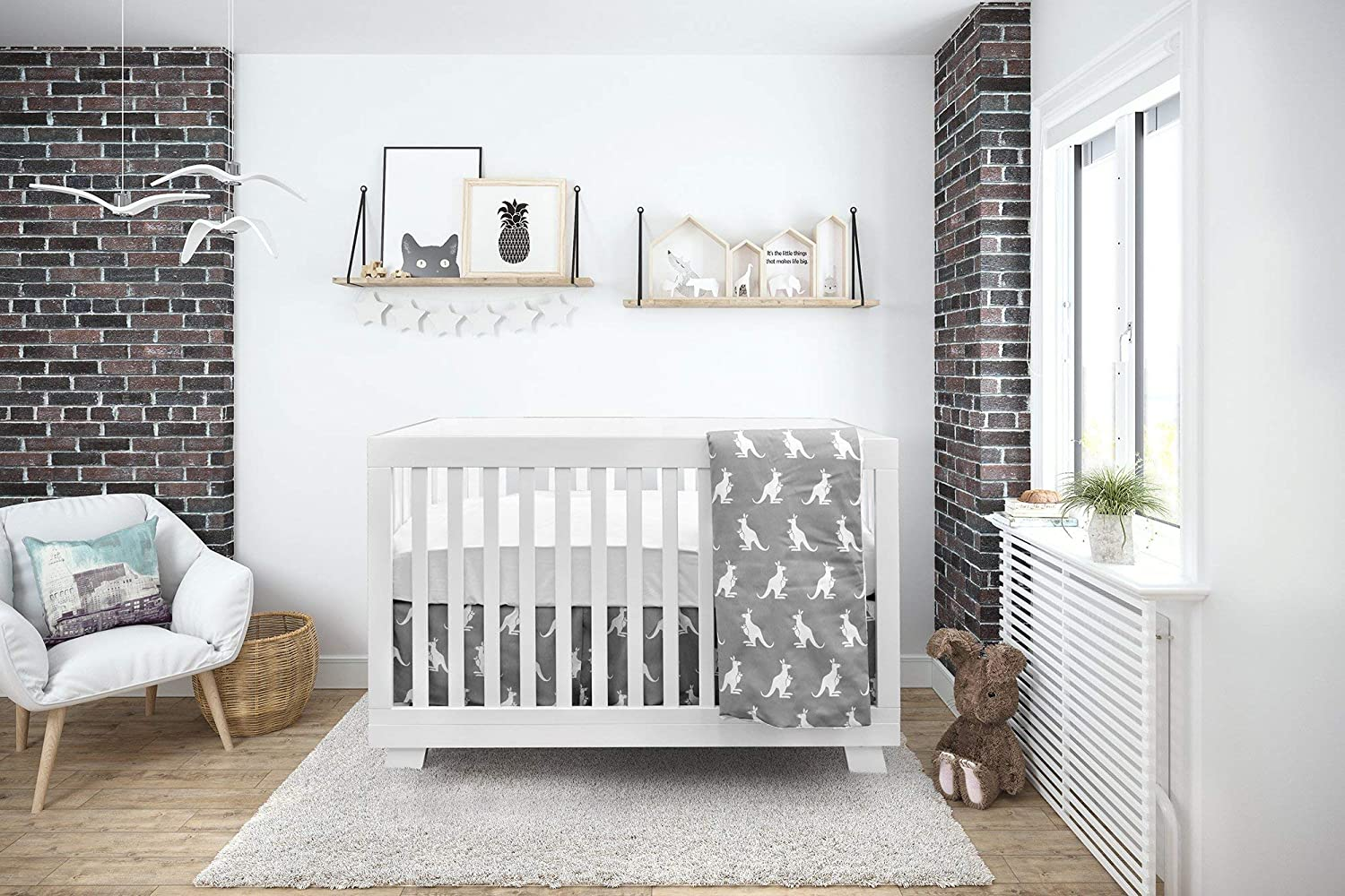 Boobeyeh & Design Baby Crib Bedding Set, 4 Pieces, Boys And Girls, Including: Fitted Sheet+ Crib Comforter+ Comforter Cover+ Skirt, White And Grey Kangaroo Design
