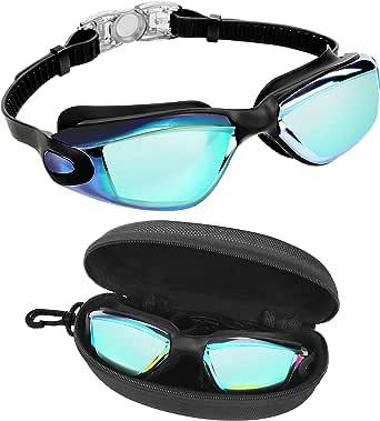 Bezzee Pro Duik Bril - UV Bescherming & Anti Aanslag Zwembril met Opslag Doosje – Lek Vrij & Aanpasbare Siliconen Band Voor Volwassenen, Man, Vrouw en Jeugd – Zachte Neus Brug – Voor Alle Zwemmers