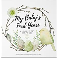 Baby First 5 Years Memory Book Journal - 90 Pages Hardcover First Year Keepsake Milestone Newborn Journal For Boys, Girls - All Family, LGBT, Single Mom Dad, Adoptive - Milestone Photo Scrapbook Album