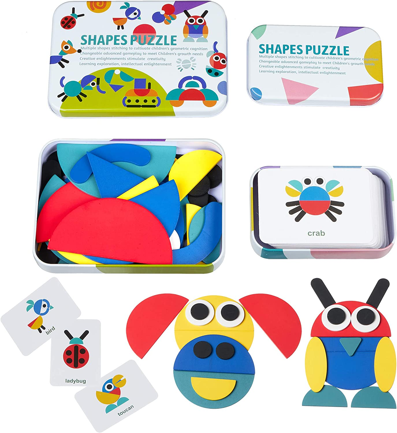 Kcuina Shapes Puzzle - 36 Wooden Blocks for Making Animals, Figures, 60 Design Cards for Pattern Guidance - Montessori Educational Toy for Boys & Girls - Craft Gifts for Kids - Sorting & Stacking Game
