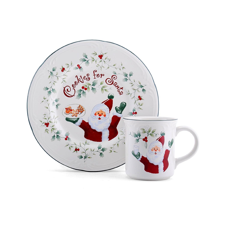 Amazon.com | Pfaltzgraff Winterberry Cookies And Milk For Santa Set Dinnerware Sets Cup u0026 Saucer Sets  sc 1 st  Amazon.com & Amazon.com | Pfaltzgraff Winterberry Cookies And Milk For Santa Set ...