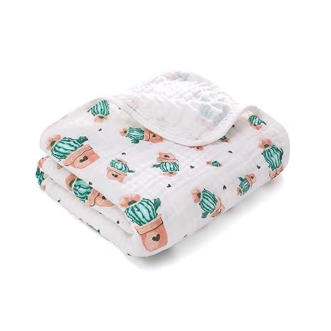 Manta Swaddle suave y acogedora de una capa de algodón y muselina, Ropa Burpy para dormir profundamente, manta de coche 100x140cm para recién nacido ...