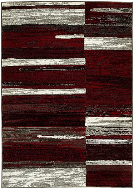 PR ABSTRACT MODERN CONTEMPORARY MIXED COLORS PATTERNS DESIGN AREA RUG CARPET RED AND GREY