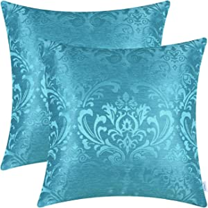 CaliTime Pack of 2 Throw Pillow Covers Cases for Couch Sofa Home Decoration Vintage Damask Floral Shining & Dull Contrast 18 X 18 Inches Lake Blue