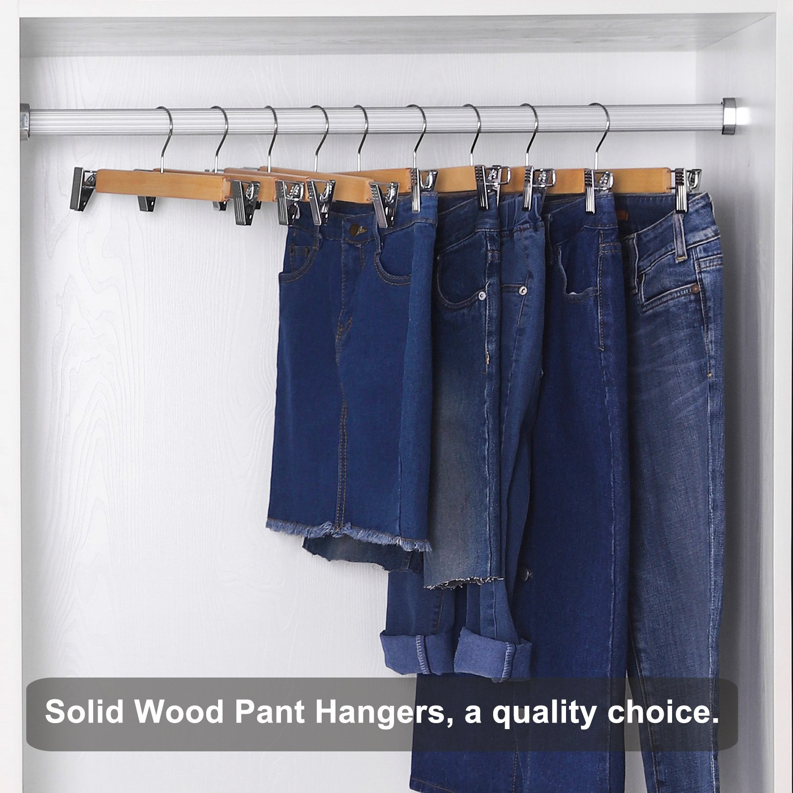 SONGMICS Hangers - Wood Pants Hangers 12 Pack Adjustable Anti-Rust Metal Clips (10.8'' - 13.0''), Perfect Skirts Pants Slacks Natural Grain UCRW008-12 by SONGMICS (Image #6)