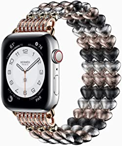 Strap Compatible with Apple Watch Band, Adjustable Sport Elastics Women Men Replacement Wristband for iWatch Series 6/SE/5/4/3/2/1 (Bling Heart, 40mm / 38mm)