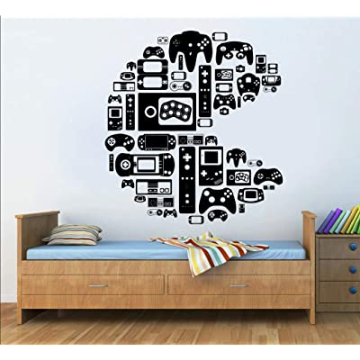 Gamer Wall Decal Bedroom Controller Video Games Gamer Pac Man Wall Decal Boys Teenager Room 100 cm Wide: Baby