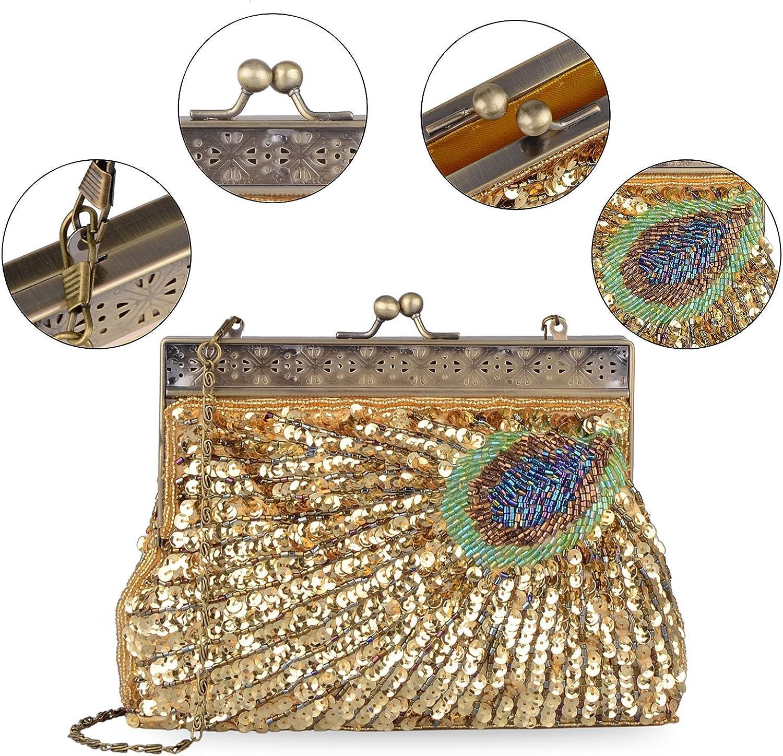 Baglamor Womens Unique Luxury Sequins Beaded Evening Bag Wedding Bridal Party Prom Clutch Handbag