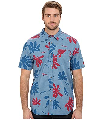 4947f09c84 Vans Men s Joel Tudor Montauk Hawaiian Shirt-Blue Red-Small at ...
