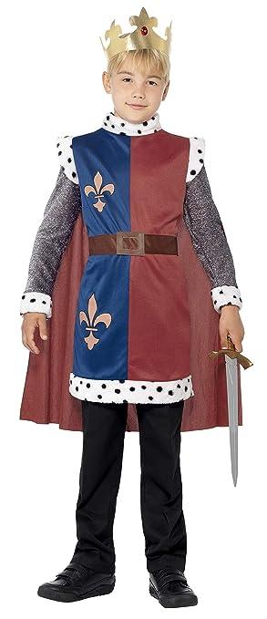 Smiffys Smiffys-44079M Disfraz Medieval del Rey Arturo, con túnica, Capa y Corona, Color Rojo, M - Edad 7-9 años 44079M