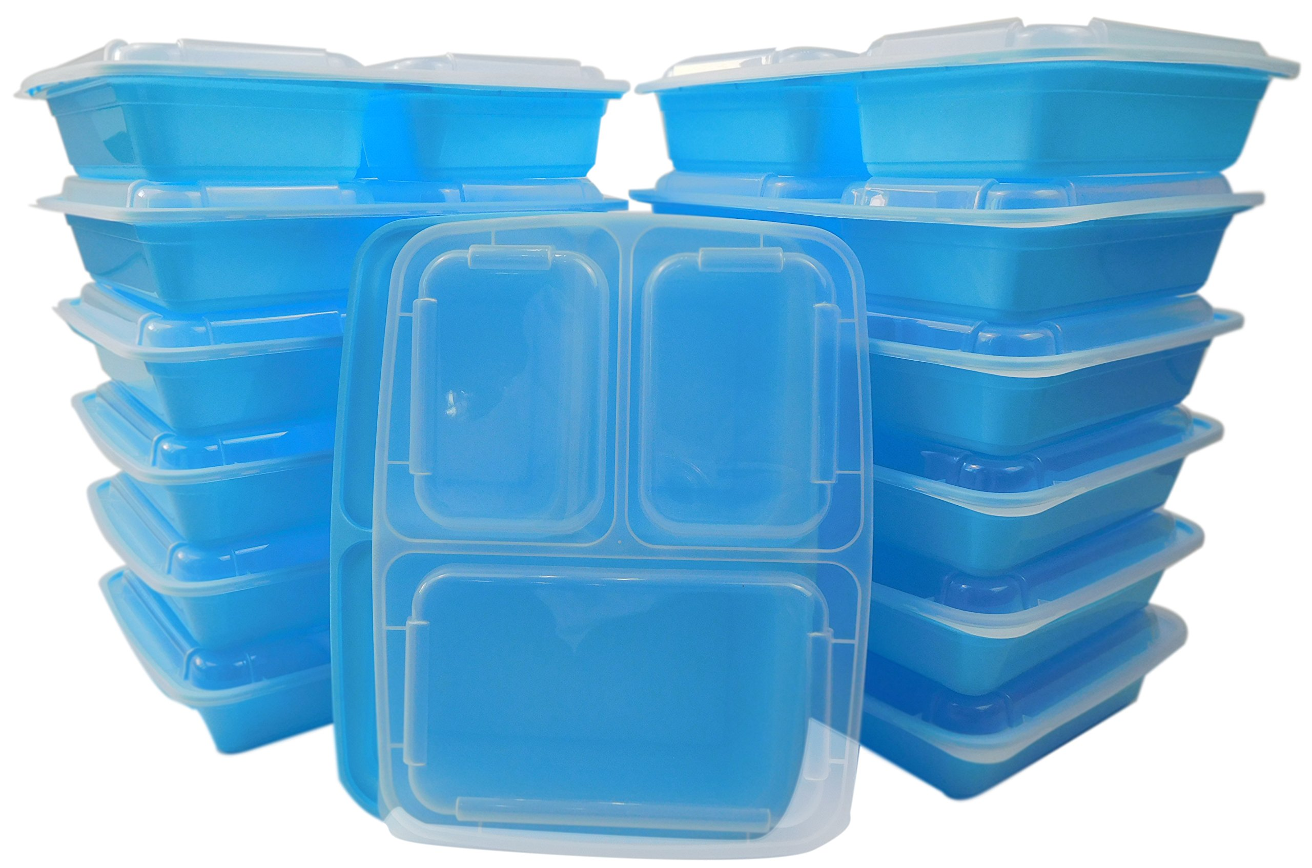 Table To Go 240-Pack Bento Lunch Boxes with Lids (3 Compartment/ 36 oz) | Microwaveable, Dishwasher & Freezer Safe Meal Prep Containers | Reusable Dish Set for Prepping, Portion Control & More (Blue)