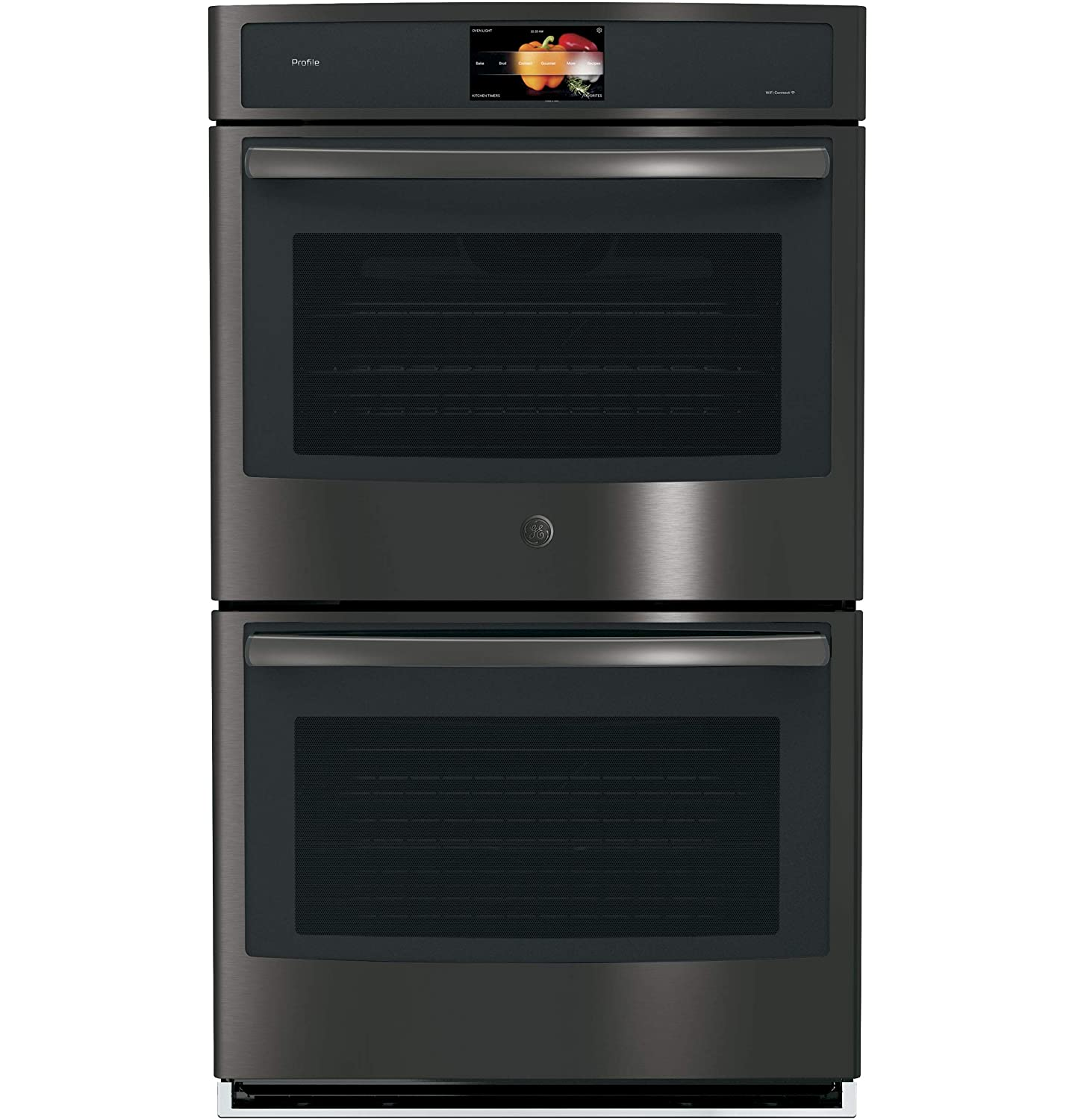 "GE Profile 30"" Black Stainless Built-In Double Convection Wall Oven"