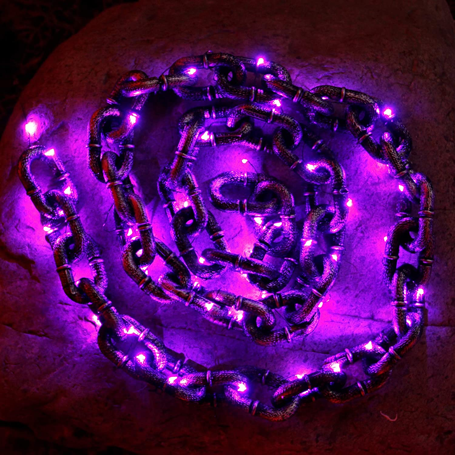 DR.DUDU 6 FT Halloween Plastic Chain Props with 50 LED Purple Light, Halloween Decoration Chain Toy, Great for Costume Party