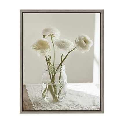 Amazon kate and laurel sylvie white ranunculus flower bouquet kate and laurel sylvie white ranunculus flower bouquet in mason jar framed canvas wall art mightylinksfo