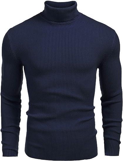 Coofandy Jersey de Punto Hombre B/ásico Manga Larga de Color Liso con Cuello Alto