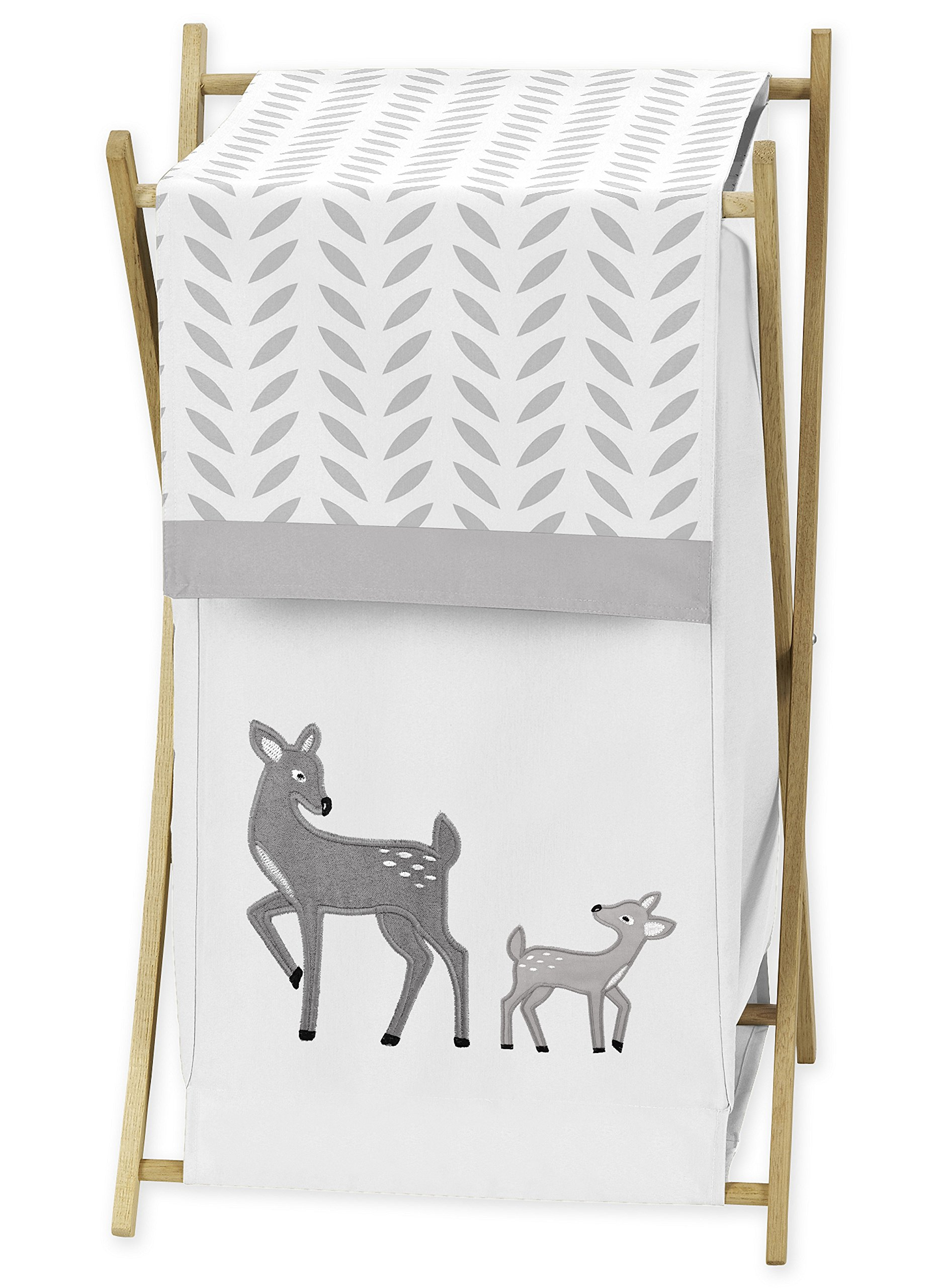 Sweet JoJo Designs Baby/Kids Clothes Laundry Hamper for Grey Gold and White Forest Deer and Dandelion Collection Girl or Boy Bedding Set