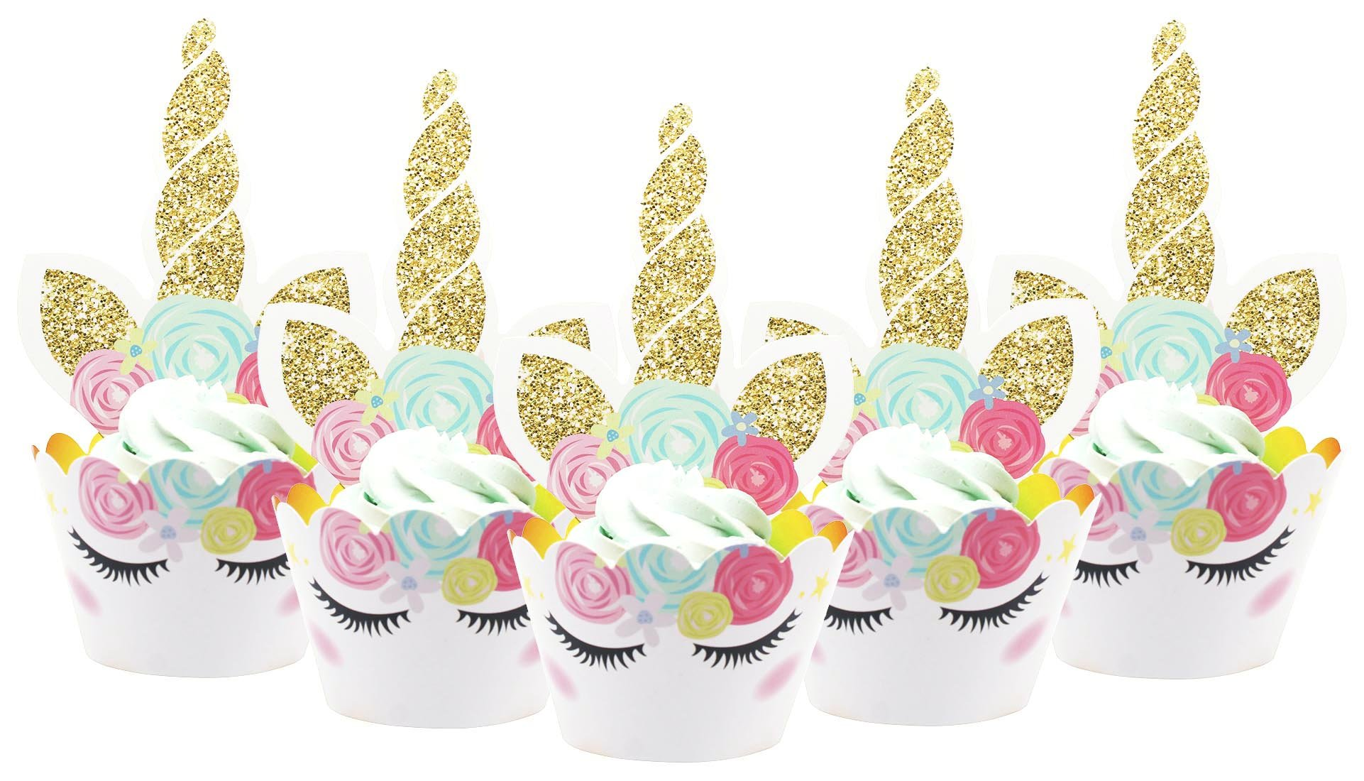 Zealax Unicorn Cupcake Toppers Wrappers Kit Cake Decoration for Kids Themed Birthday Party Supplies Baby Shower, Set of 36