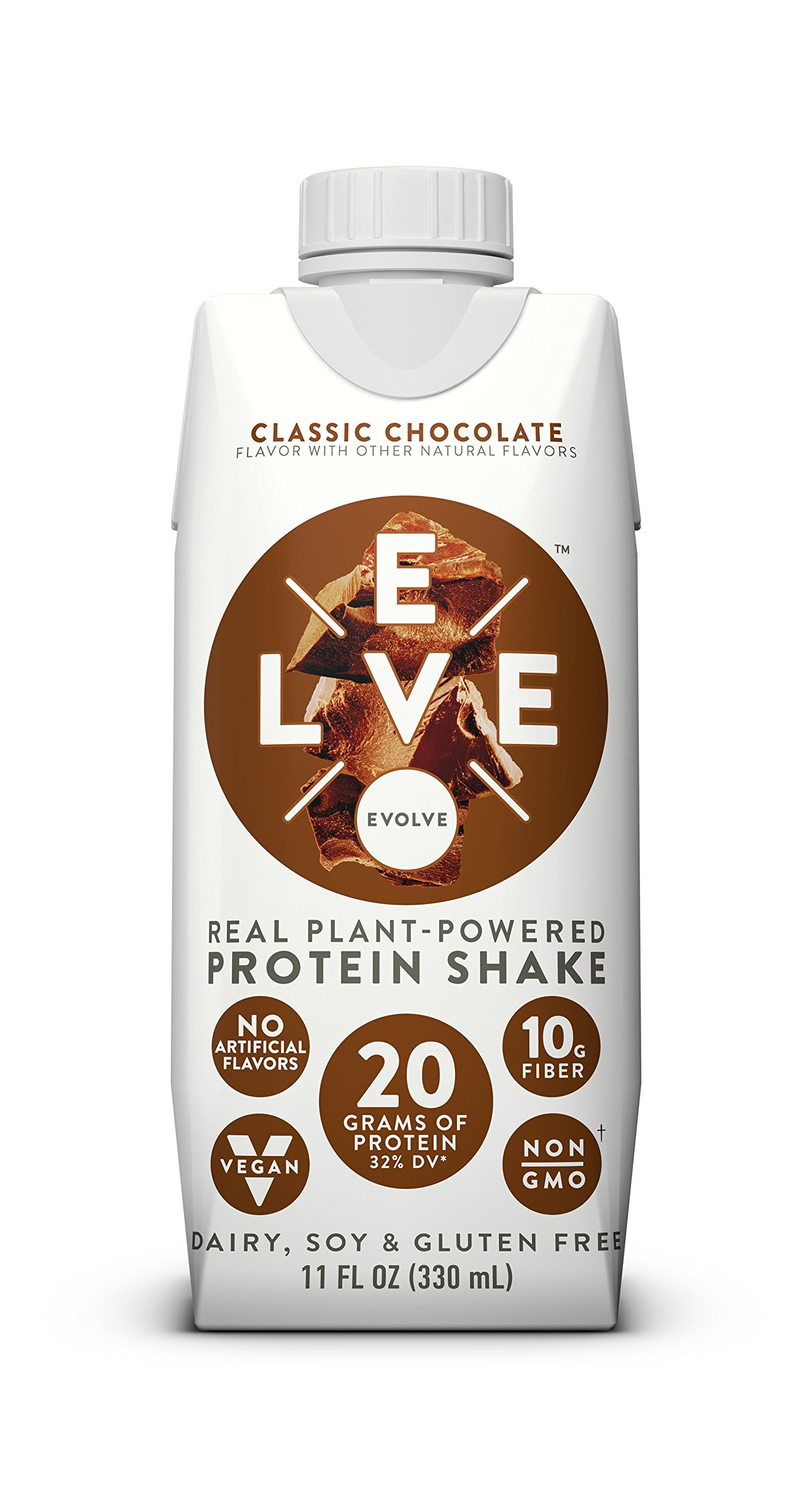 Evolve Protein Shake, Classic Chocolate, 20g Protein, 11 Fl Oz, Pack of 12 by EVOLVE