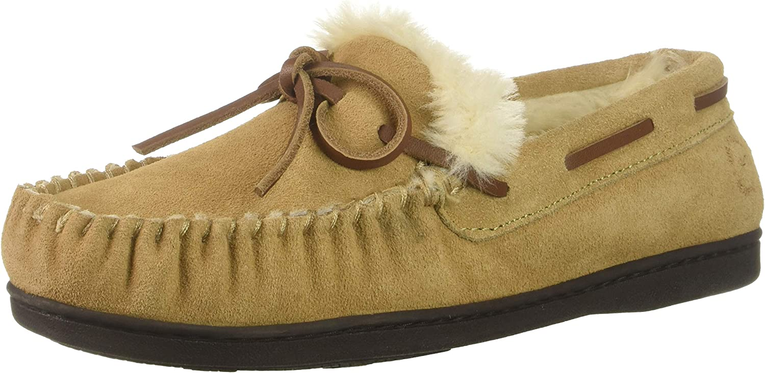 Dearfoams Women's Suede Moccasin with Tie Slipper