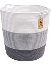 "INDRESSME Extra Large Cotton Rope Basket - Woven Baskets Laundry Basket for Blankets Toys Storage Basket Cotton Thread Nursery Storage Bins Home Storage Containers, 18.8"" x 17.7"" x 13.8"""