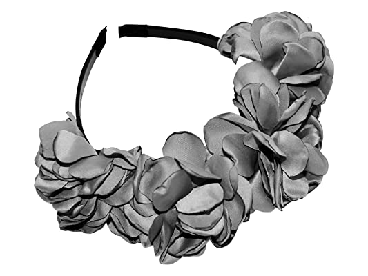 Be Unique Bowtique, Grey Silk Rose Petal Flower Headband with Teeth for Girls, Children Plastic Headband for the Holidays