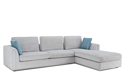 Admirable Amazon Com Cortesi Home London Sectional Sofa In Soft Grey Ncnpc Chair Design For Home Ncnpcorg