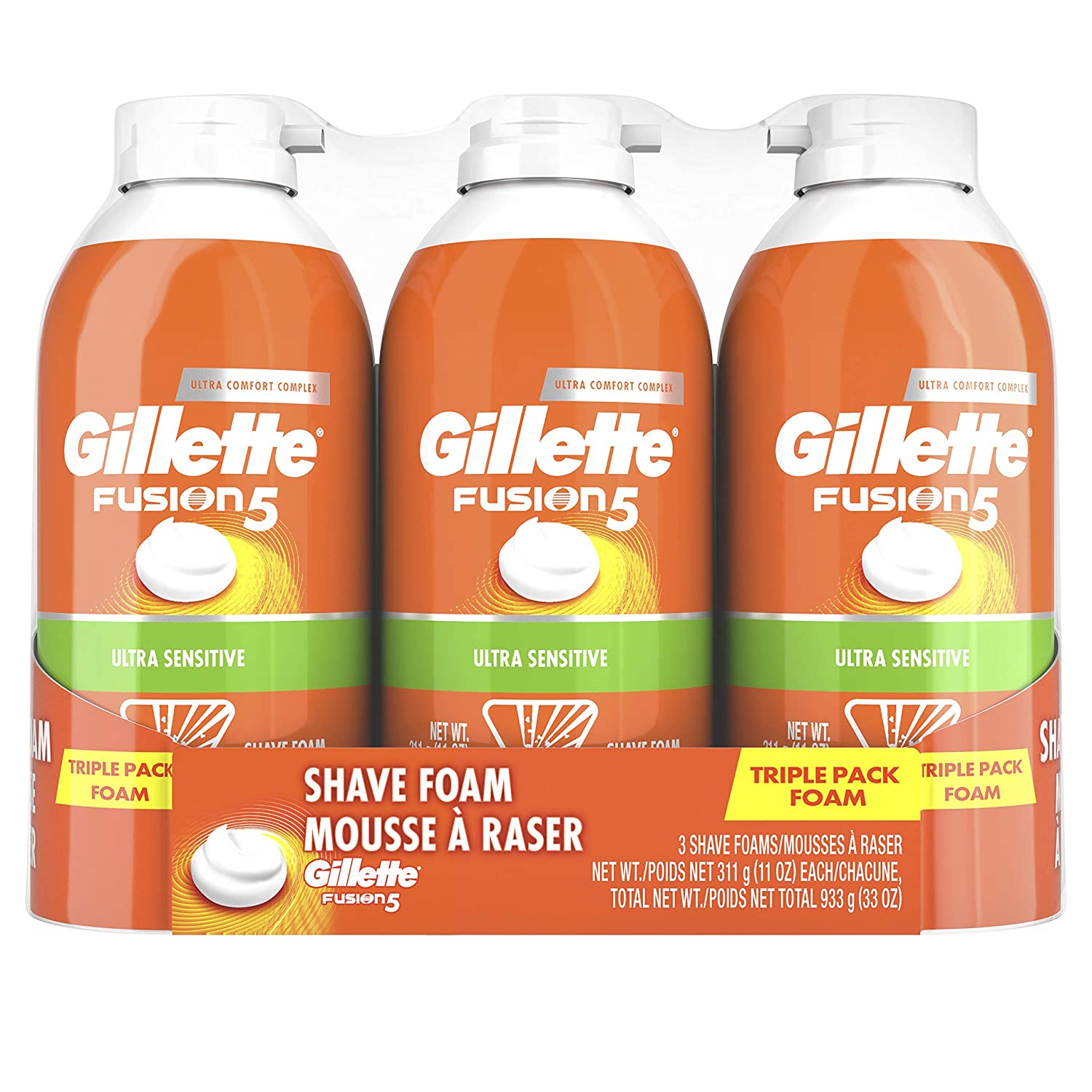 Gillette Fusion5 Ultra Sensitive Shave Foam, 11 Ounce (Pack Of 3)