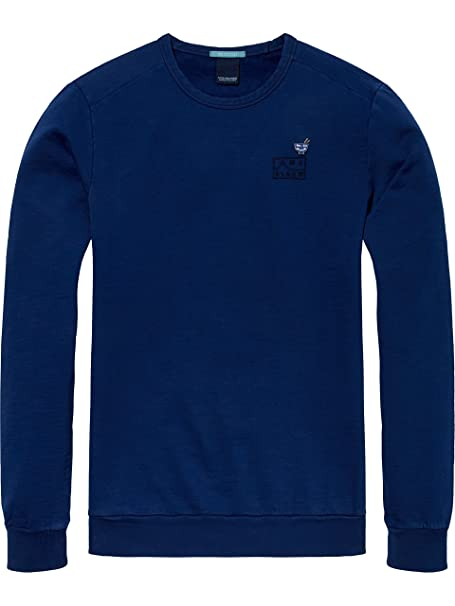 AMS Blauw Garment Dyed Sweat with Chest Embroidery, Sudadera para Hombre, Azul (Yinmn Blue 1742), X-Large Scotch & Soda